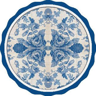Elegant blue vintage floral