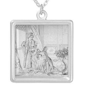 Szene von der Braut von Abydos durch Lord Byron Halskette Mit Quadratischem Anhänger