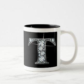 """""""T-"""" Diamant Bling auf schwarzer Tasse"""