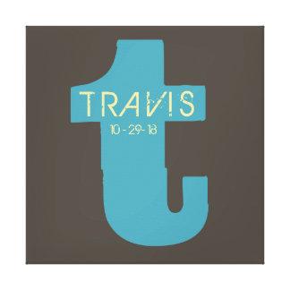 T-Monogramm-Initialen-Bar-Schläger Mitzvah Gespannte Galeriedrucke
