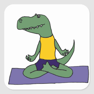T-Rex Dinosaurier, der Yoga tut Quadratischer Aufkleber