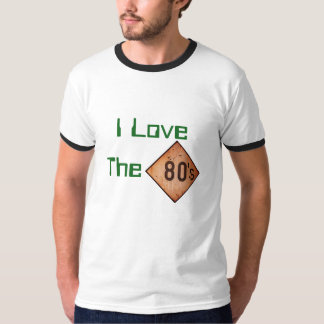 T - Shirt: I Liebe der 80er. Weiß/Grün T-Shirt
