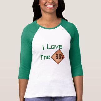 T - Shirt: I Liebe der 80er. Weiß/Grün T-shirts