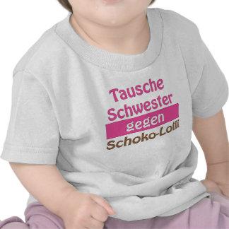 """T-Shirt """"Tausche Schwester gegen Schoko-Lolli"""""""