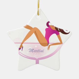 T-Shirts mit Vintagem Martini-Mädchen Keramik Stern-Ornament