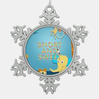 T-STÜCK kurz und süß Schneeflocken Zinn-Ornament