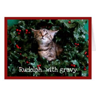 Tabby-Kätzchen im Stechpalmen-Kranz Karte