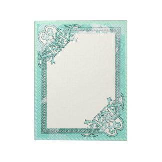 Tadelloser grüner Blumencollagen-Tupfen + Linie Notizblock