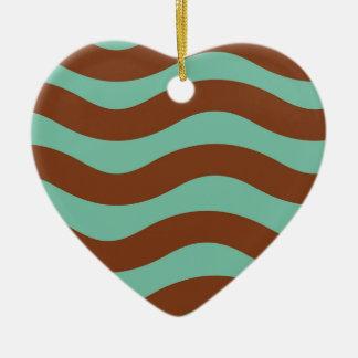 Tadelloses Grün und Brown-Wellen Keramik Herz-Ornament