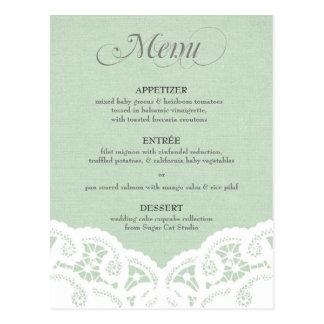 Tadelloses Spitzedoily-Hochzeits-Menü Postkarte