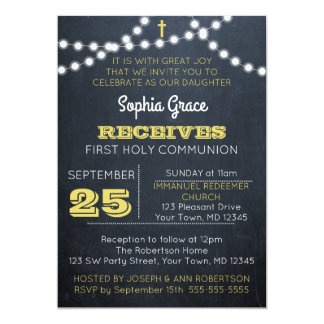Tafel beleuchtet Golderste Kommunions-Einladung 12,7 X 17,8 Cm Einladungskarte