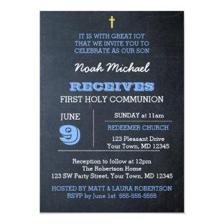 Tafel-Blau-erste Kommunions-Einladung Karte