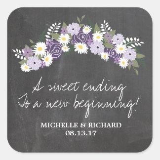 Tafel-BlumenKranz-Hochzeit Quadratischer Aufkleber