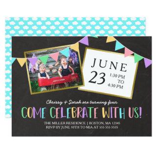 Tafel-Flaggen-Fahnen-Foto-Geburtstags-Party 12,7 X 17,8 Cm Einladungskarte