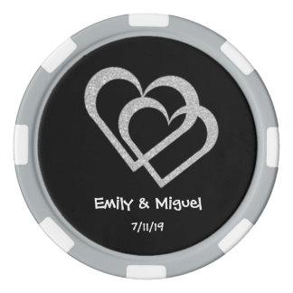 Tafel-Herz-Hochzeits-Poker bricht Bevorzugung ab Poker Chip Set