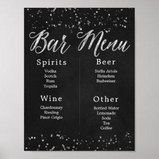 Tafel-Hochzeits-Bar-Menü Poster
