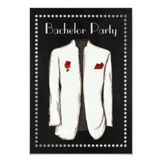 Tafel-Junggeselle-Party Einladungs-WeißTuxedo 8,9 X 12,7 Cm Einladungskarte
