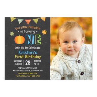 Tafel-Kürbis-Baby-erstes Geburtstags-Foto Karte