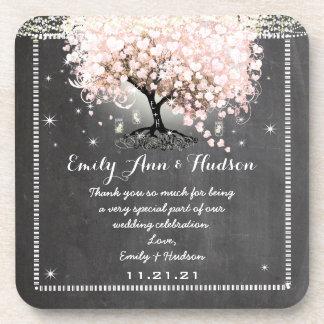 Tafel-rosa Herz-Blatt-Baum-Hochzeits-Untersetzer Untersetzer