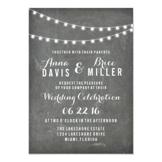 Tafel-Sommer-Schnur-Licht-Hochzeit lädt ein 12,7 X 17,8 Cm Einladungskarte