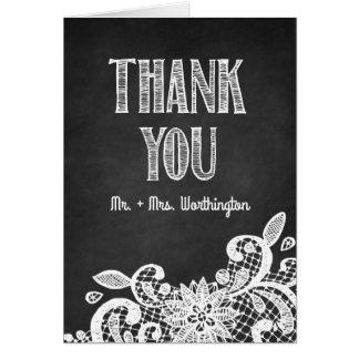 Tafel und Spitze-rustikale Hochzeit danken Ihnen Karte