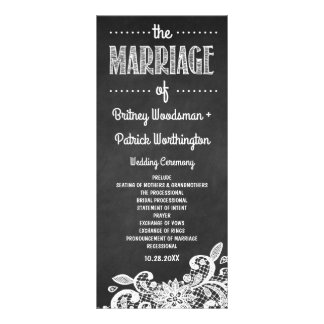 Tafel-und Spitze-rustikale Hochzeits-Programme Werbekarte