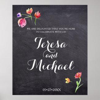 Tafel-Wasserfarbe-Blumen-Farbe, Wedding Zeichen Poster