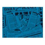 Tägliches Planeten-Muster - Blau Postkarten