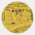 Tägliches Planeten-Muster - Gelb Runde Sticker