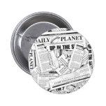 Tägliches Planeten-Muster - Weiß Button