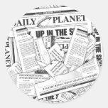 Tägliches Planeten-Muster - Weiß Runde Aufkleber