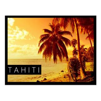 Tahiti-Sonnenuntergangschwarz-Randpostkarte Postkarte