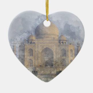 Taj Mahal in Agra Indien Keramik Herz-Ornament