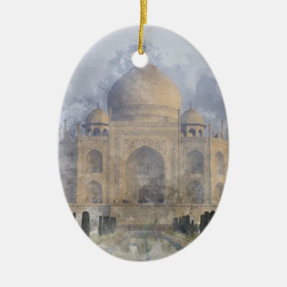 Taj Mahal in Agra Indien Ovales Keramik Ornament