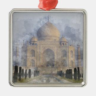 Taj Mahal in Agra Indien Quadratisches Silberfarbenes Ornament
