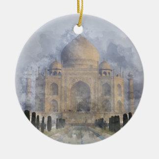 Taj Mahal in Agra Indien Rundes Keramik Ornament