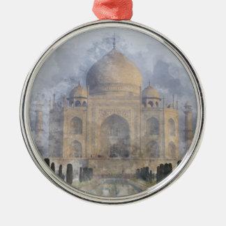 Taj Mahal in Agra Indien Rundes Silberfarbenes Ornament