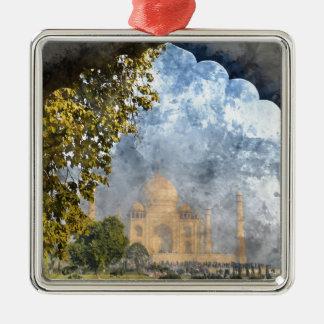 Taj Mahal in Indien Quadratisches Silberfarbenes Ornament