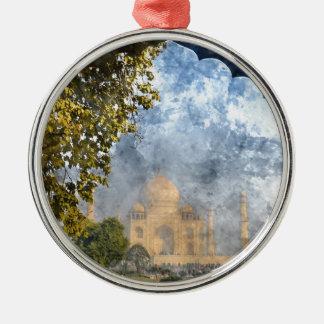 Taj Mahal in Indien Rundes Silberfarbenes Ornament