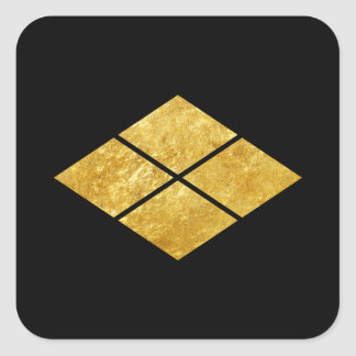 Takeda kamon japanisches Samuraiclan-Imitatgold Quadratischer Aufkleber