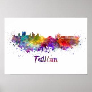 Tallinn-Skyline im Aquarell Poster