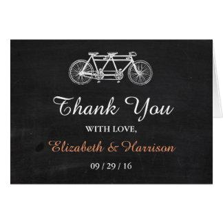 Tandemfahrrad auf Tafel-Hochzeit danken Ihnen Mitteilungskarte