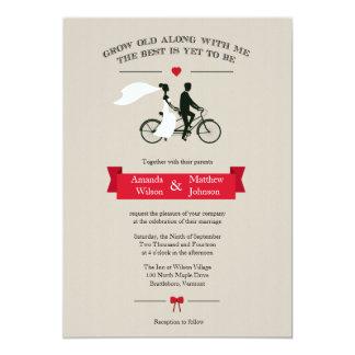 Tandemfahrrad-Vintage Hochzeits-Einladungen 12,7 X 17,8 Cm Einladungskarte