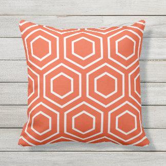Tango-orange geometrisches Muster-Kissen im Freien Zierkissen