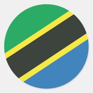 Tansanische Flagge Runder Aufkleber