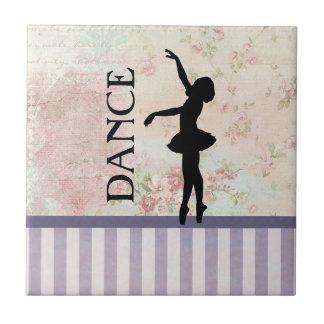 Tanz - Ballerina-Silhouette-Vintager Hintergrund Keramikfliese