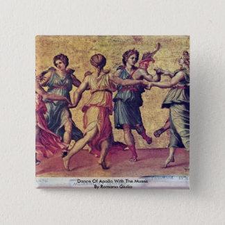 Tanz von Apollo mit den Musen durch Romano Giulio Quadratischer Button 5,1 Cm
