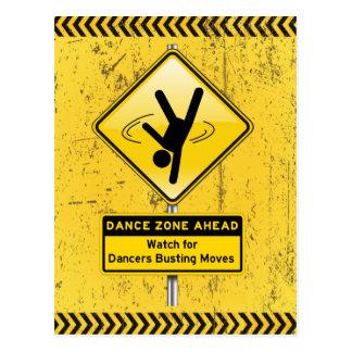 Tanz-Zone Voran-Uhr für die Tänzer, die Bewegungen Postkarte