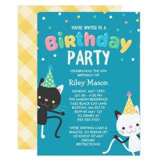 Tanzen-Katzen-Kindergeburtstag-Party Karte