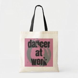Tänzer bei der Arbeit weiß/Rosa/graue Tragetasche